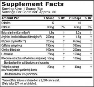 MuscleTech Anarchy Nutrition Facts